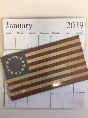 1-2019-2020 AMERICAN FLAG WITH CIRCLE STARS 2 Year  Pocket Calendar planner