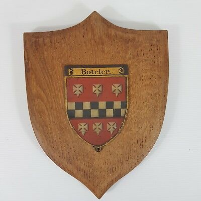 Antique BOTELER Family Crest Hand Painted On Metal With Oak Shield Heraldic