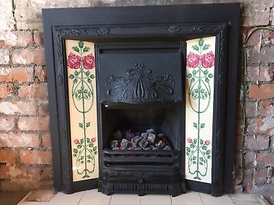 Stovax Art Nouveau Cast and Tiled Fireplace