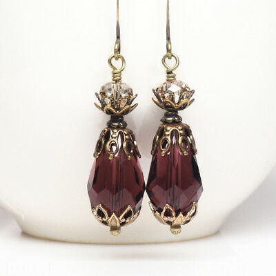 Wild Berry Plum Crystal Teardrop Earrings, Vintage Style, Sparkly, Antique Brass
