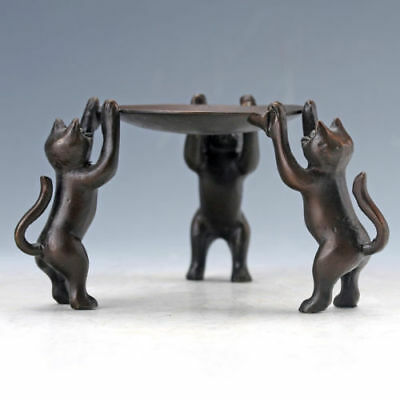 Chinese Collectable Bronze Hand Carved Three Cats Staute Candlestick