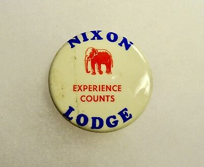Nixon Lodge Experience Counts Presidential Campaign Pin