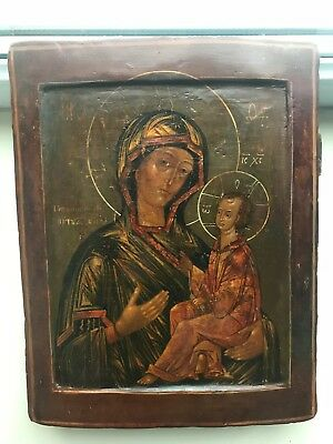 """Antique 18c Russian Hand Painted  Icon """"Mother of God Tikhvin"""""""