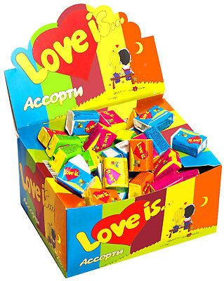 LOVE IS... Chewing Bubble Gum Assorted with all 5 Flavors - Full Box - 100 PCS