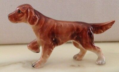 Vintage Miniature Bone China Style Adult Irish Setter Sporting Dog On Point!