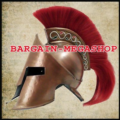 Medieval King Leonidas Helmet Roman Helm Spartan 300 Movie Helmet W / Red Plum