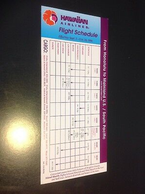 Hawaiian Airlines Flight Schedule 9-3-1996