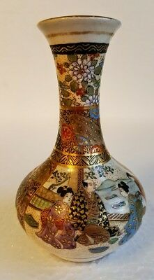 "Fine Meiji Period Japanese Satsuma Miniature Vase; Signed 4 1/4"" Tall"