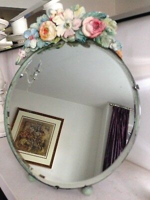 30s/40s FREESTANDING CIRCULAR FLORAL DRESSING TABLE MIRROR, GOOD CON FOR HER AGE
