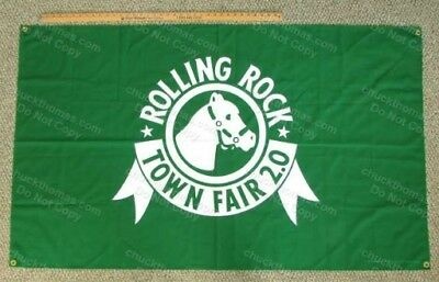 Latrobe Brewing Co Rolling Rock FIRST Town Fair Green Cloth Banner and Guide