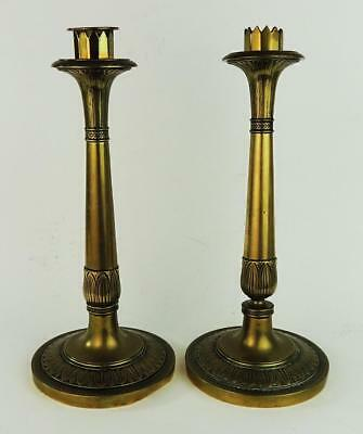 FRENCH EMPIRE STYLE PAIR Antique BRASS CANDLESTICKS 19th Century