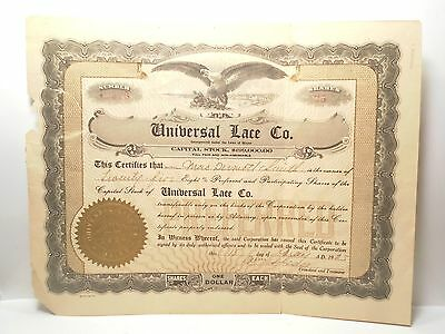 Antique Universal Lace Company Co Stock Certificate 25 Shares 1920 Maine Old Vtg