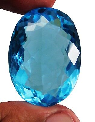 80.80cts. Natural  Oval Cut Ocean Blue Aquamarine Loose Gemstone k1213