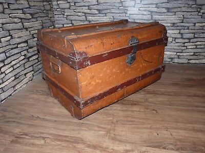 Old Antique Vintage Metal Travel Chest / Trunk, Toy, Storage, Linen, Blanket Box
