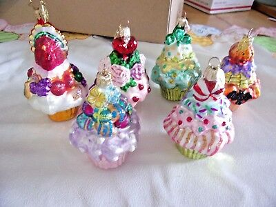 Lot Of Vintage Mercury Glass Cupcake Ornaments Six Different Holidays