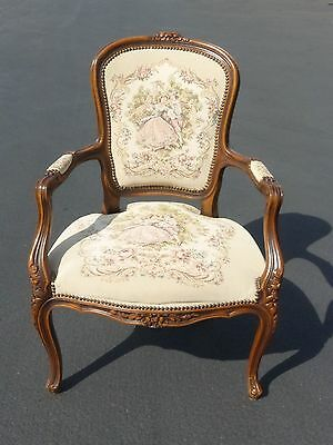 Beautiful Vintage French Provincial Carved Wood Tapestry Accent ARM CHAIR