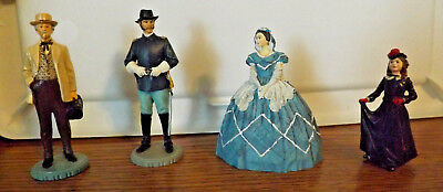 4 GONE WITH THE WIND Franklin Mint Figurines,Bonnie,Dr. Mead,Melanie,Cpt.Kennedy