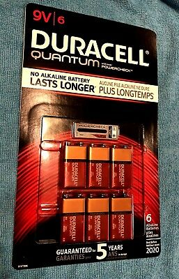 New  6 Pack Duracell Quantum 9V Alkaline Batteries with PowerCheck FRESH BATTERY