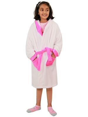 Kids Girls Bathrobe 3D Animal Unicorn Dressing Gown Lush Fleece Night Loungewear