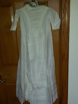 Antique Victorian Baby Lace & Cotton Pleated Christening Gown Dress