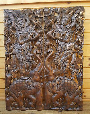 Stunning Pair Master Carved Angels On Elephant Thick Teak Wood Wall Art Panels