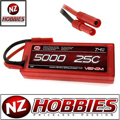 Venom 25C 2S 5000mAh 7.4 Hardcase LiPo Battery with HXT 4.0mm Plug # 1558HXT4