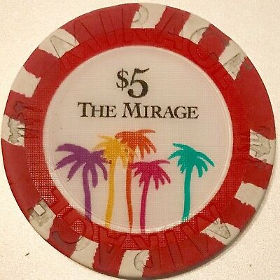 The Mirage $5 Casino Chip Vintage - Poker - Las Vegas - RARE