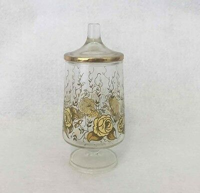 Vintage Clear Footed Floral Apothecary Jar w/Gold Tone Roses & Trim