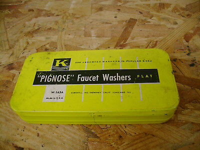 "Kirkhill  ""PIGNOSE"" Faucet Washer Asst. Flat, In Nice Tin Box, Made in USA"