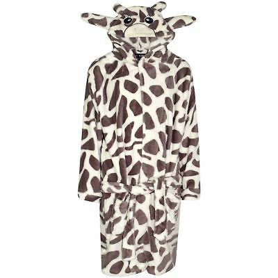Kids Girls Boys Bathrobe 3D Animal Giraffe Dressing Gown Fleece Night Loungewear