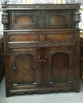 Large Antique Carved Solid Oak Cabinet Buffet Sideboard Gothic
