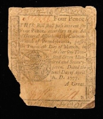 1777 Pennsylvania Colonial Four Pence Item K-11