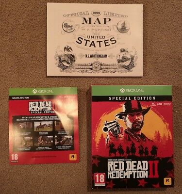 Red Dead Redemption 2 Xbox One Special Edition DLC Code & Printed Map *NO GAME*