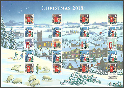 Gb 2018 Christmas Post Boxes Dogs Trees Churches Generic Collectors Sheet Mnh