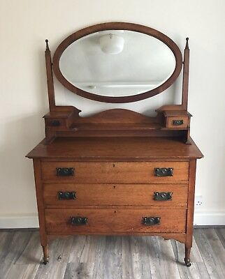 Vintage Solid Oak Dressing Table, with Oval Mirror ..Edwardian?
