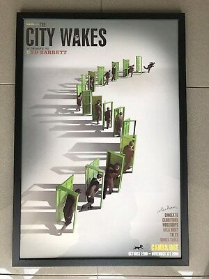 THE CITY WAKES Syd Barrett Pink Floyd framed poster signed by Mick ...