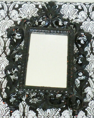 Antique Vintage French Nouveau Beveled Glass Mirror Iron Black Hollywood Regency