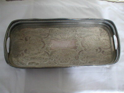 vintage sheffield silver plate gallery serving tray