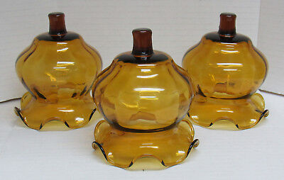 """3 Vintage Homco Amber Glass Votive Cups Ruffled Edge Candle Holders 4"""""""