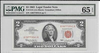 Fr. 1513 $2 1963 Legal Tender Note PMG 65EPQ Gem Uncirculated Red Seal