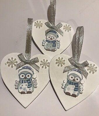 3 x Owl Christmas Hanging Decorations Handmade Real Wood Silver blue Grey