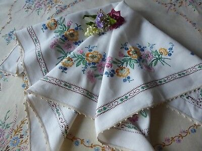 Vintage Hand Embroidered Tablecloth= Beautiful Floral Embroidery