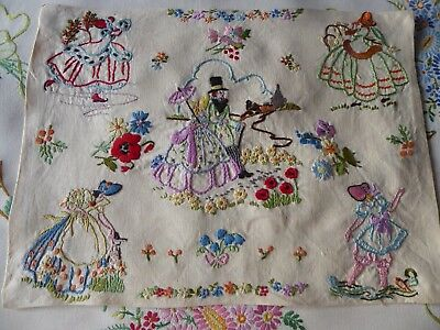 Vintage Hand Embroidered Picture Panel Of Charming Crinoline Ladies