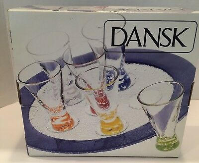 Dansk - Vivacious Cordial Set W. Glass Tray & 6 Glasses - New In Box