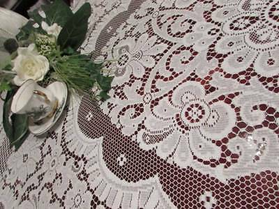 Vintage Beautiful Cream All Lace 7ft x 6 ft Tablecloth