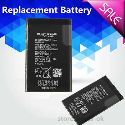 Replacement Rechargeable Li-ion Battery 1020mAh 3.7V 3.8 wh for Nokia BL-5C S#