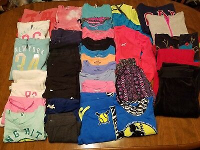 Girls HUGE Lot 33pc Hoodies Shirts Pants Capris Shorts Sz Med 10/12 EUC Winter