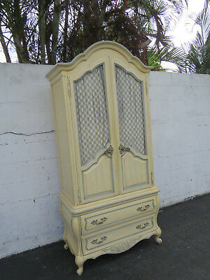 French Tall Carved Distressed Painted Armoire Wardrobe Cabinet by Hickory 9294