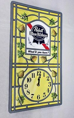 Excellent Rare PABST BLUE RIBBON Beer Clock Sign PBR What'll you have?