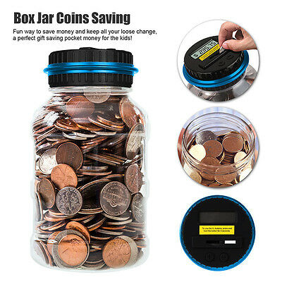 Automatic Money Counting Jar Electronic Coin Counter Digital Saving Piggy Box US